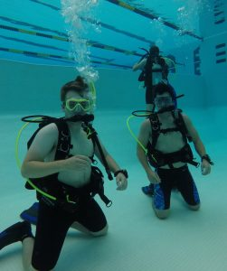 Students scuba diving