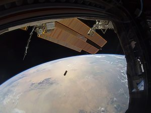 HaloSat being deployed into Low-Earth-Orbit